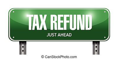 tax refund road sign illustration