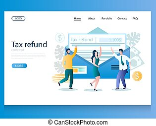 Tax refund vector website landing page design template - Tax...