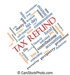 Tax Refund Word Cloud Concept Angled
