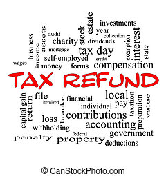 Tax Refund Word Cloud Concept in red caps with great terms such as income, file, money and more.