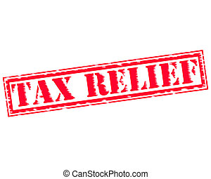 TAX RELIEF RED Stamp Text on white backgroud