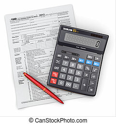 Tax Return 1040, calculator and pencil on white background....
