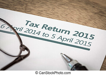 Tax return 2015 - UK HMRC Income tax return form for 2015 on...