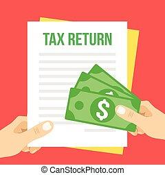 Tax return flat illustration. Hand holds Tax return form and...