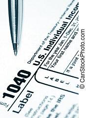 Tax Return - Form 1040 US tax return, with ballpoint pen....
