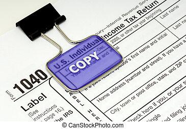 Tax Return - Photo of a 1040 Tax Form