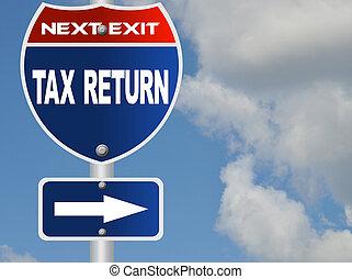 Tax return road sign