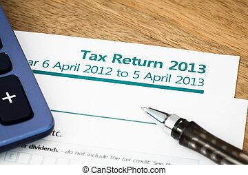 Tax return UK 2013 - Close up of UK Income tax return form...