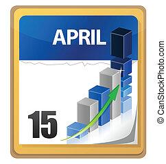 Tax returns day marked on a calendar illustration design