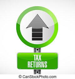 tax returns road sign concept illustration