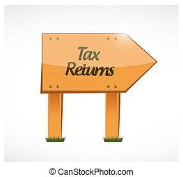 tax returns wood sign concept illustration
