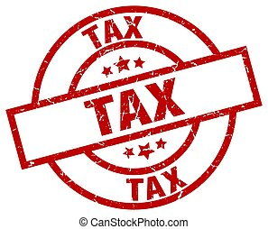 tax round red grunge stamp