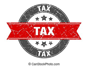tax round stamp with red ribbon. tax
