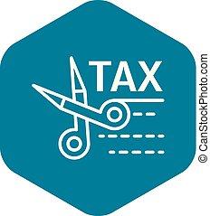 Tax scissors icon, outline style