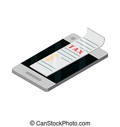 tax smartphone app payment isometric