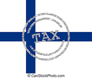 Tax stamp and flag of Finland
