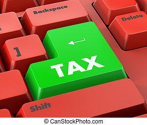 tax - Text tax button 3d render