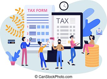 Tax submit and online payment, year-end report flat vector illustration isolated.