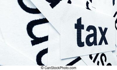 Tax tag on word cloud camera slide