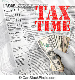 Tax Time - A tax time themed montage for US taxpayers with a...