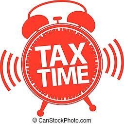Tax time alarm clock red icon, vector illustration