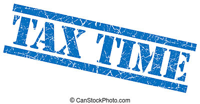 tax time blue square grunge textured isolated stamp - tax...