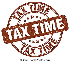 tax time brown grunge round vintage rubber stamp