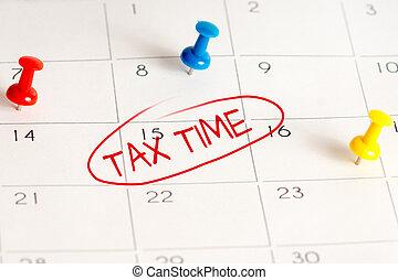 tax time, calendar, pins