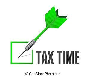 tax time check dart sign illustration
