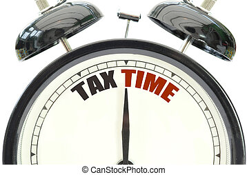 Tax time clock over a white background