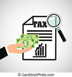 tax time flat line icons