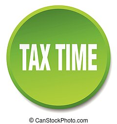 tax time green round flat isolated push button