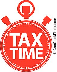 Tax time stopwatch red icon, vector illustration