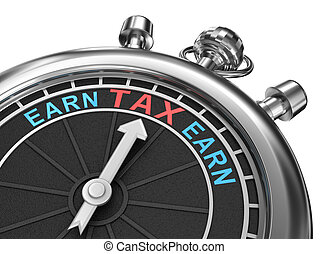 Tax time, timepiece 3d concept, isolated