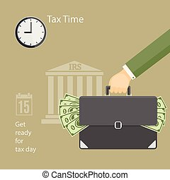 Tax time with human hand keeping the briefcase