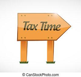tax time wood sign illustration design