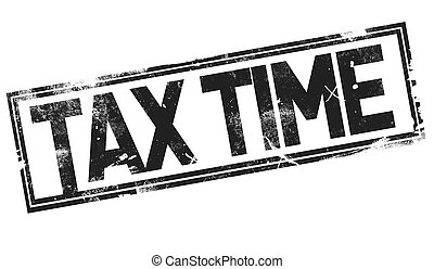 Tax time word with black frame