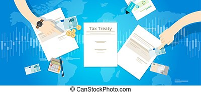 Tax treaty between country international agreement deals vector