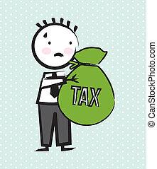 tax vector - businessman cartoon over green background....