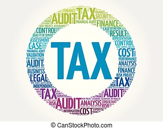 TAX word cloud collage, business concept background