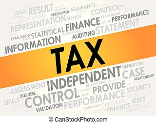 TAX word cloud collage