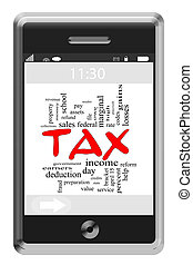 Tax Word Cloud Concept on Touchscreen Phone