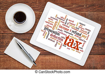tax word cloud on tablet - cloud of words related to taxes,...