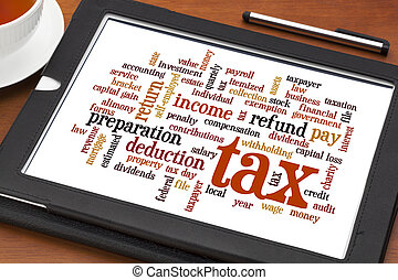 tax word cloud - cloud of words related to taxes,...