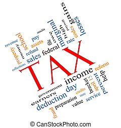 Tax Word Cloud Concept angled