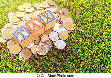 TAX write in color alphabet wood box on stack of Thai baht coin on green grass. For time to pay tax concept. Shot in morning time with sunlight and lens flare