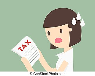 Tax - young woman reading a document with an aghast ...