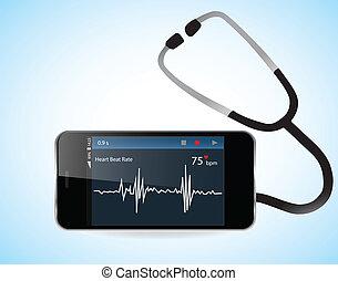 taxa coração, smartphone, monitor
