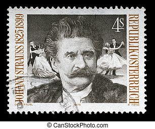 taxa postal, 1975., selo, imagem, áustria, famosos, johann,...