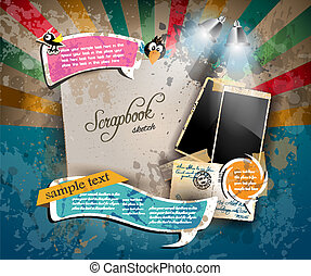 taxa postal, antigüidade, estilo, elementos, antigas, scrapbook, afligido, vindima, algum, desenho, foto formula, positivo, poste, stickers., composição